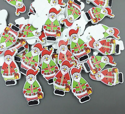 Christmas Santa Claus Buttons Wooden Sewing decoration crafts Scrapbooking 35mm