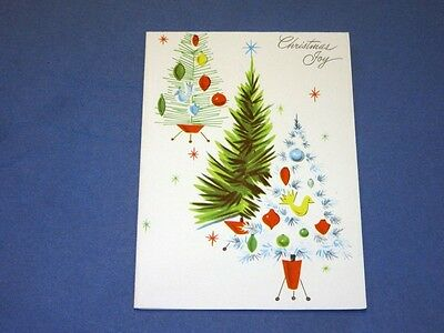 Vtg UNUSED Mid Century Christmas Card 4 trees with atomic space age stands