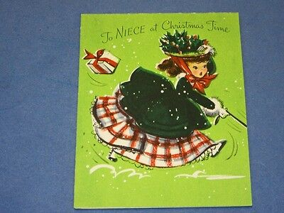 Vtg 40s Hallmark Christmas Card pretty girl walking boy scotty after girl poodle