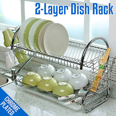 """16"""" High Quality 2-Layer Tier Chrome-Plated Steel Dish Rack W/ Cup Drainer"""