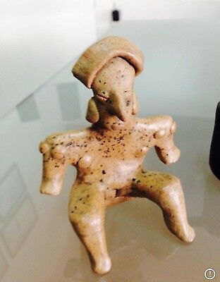 Pre-Columbian COLIMA Flat pottery - NUDE WOMAN Sitting Down, 200 BCE - 200 CE.