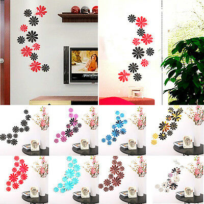 3D Flower Home Room Decor Wall Art Stickers Bedroom Removable Decal Mural DIY