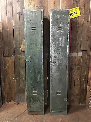 2x Industrial Metal Vintage Mesh Lockers Interior Design Stripped Distressed