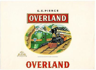 Cigar Box Label Vintage Inner C1930S Ss Overland Trains Locomotives Boston Ma