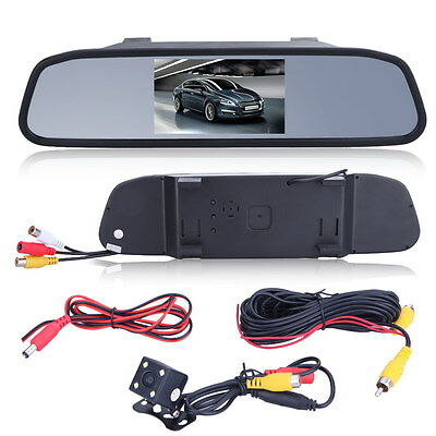 "Car 4.3"" TFT LCD Rear View Monitor System Backup Reverse Camera Kit Night Vision"