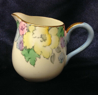 Crown Staffordshire F14910 Creamer 6 Oz Pastel Flowers & Blue Handle Gold Trim