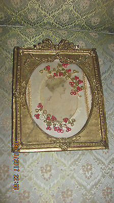 Antique Fancy Gold Gesso Swag Designs Framed Victorian Lady Handmade Photo Frame