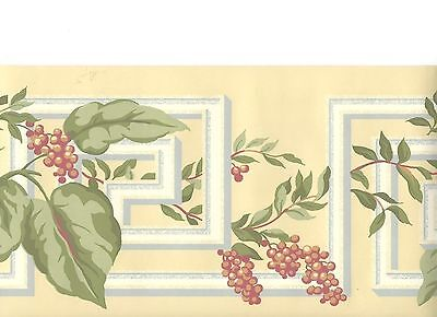 Leaf and Berries with Greek Key on Butter Yellow Wallpaper Border NR3555B
