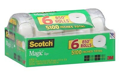 "Scotch Magic Tape With Refillable Dispenser 3/4"" x 850"" 6 Rolls Portable"