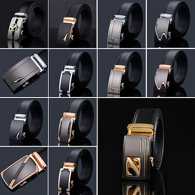 Automatic Fashion Leather Waist Strap Business Genuine Men's Buckle Belts New