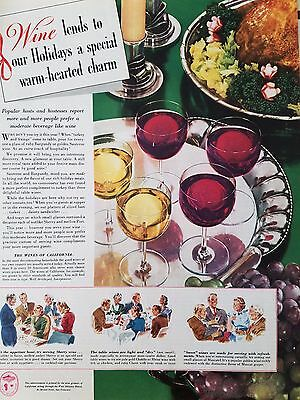 1940 Wines Of California Holiday Wine Serving Tray Original Print Ad