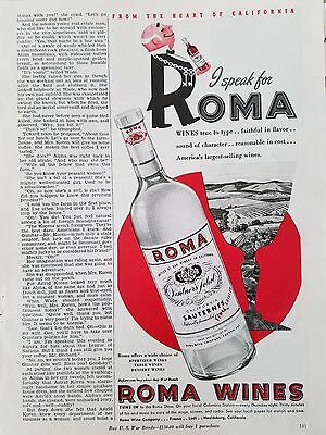 1943 Roma Wine California Sauterne Bottle Original Ad