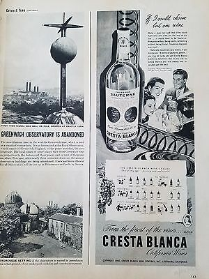 1946 Cresta Blanca California Sauterne Wine Cellar Original Ad