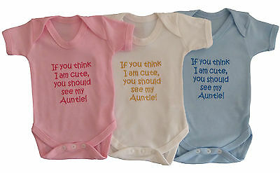 Think I Am Cute See My Auntie Babies Vest Grow Boy Girl Baby Clothes Funny Gift