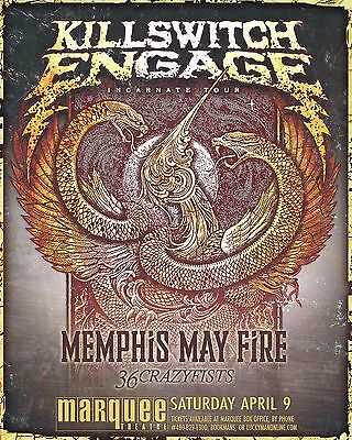 """Killswitch Engage /memphis May Fire """"incarnate Tour"""" 2016 Phoenix Concert Poster"""