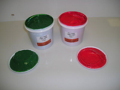 Screen Printing Plastisol Inks--Red and Green