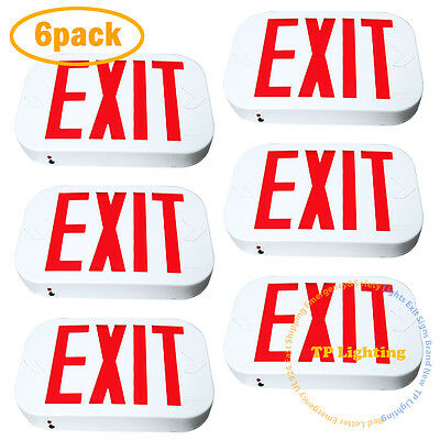 NEW 6x Red LED Emergency Exit Light Sign - Modern Battery Backup UL924 Fire