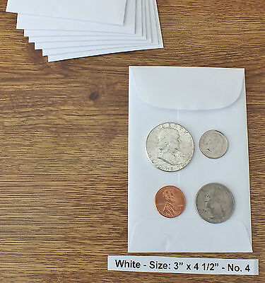 100 NEW SMALL 3 X 4 1/2 WHITE COIN ENVELOPES 7.6x11.4cm (coins not included)