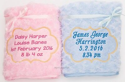 Personalised Baby Blanket Luxury Embroidered Rose Swirl Fluffy Satin Trim NEW
