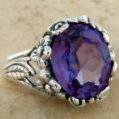 6 Ct. Color Changing Lab Alexandrite Antique Design 925 Silver Ring Size 8, #470