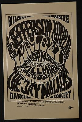 Bill Graham BG5 Handbill Jefferson Airplane, Jay Walkers