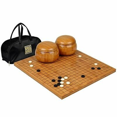 """Bamboo 0.8"""" Go Board w/  Double Convex Yunzi Stones and Bowls Set"""
