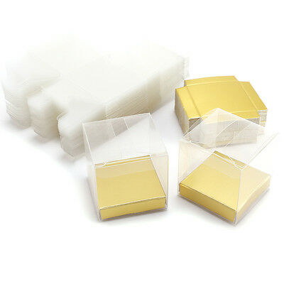 25/50pcs Luxury Clear PVC Plastic Cube Gift Packaging Box Wedding Favour Sweet