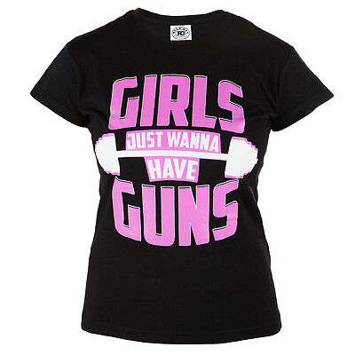 """Womens T-Shirt Mma """"girls Just Wanna Have Guns"""" Ideal For Gym Casual 100% Cotton"""