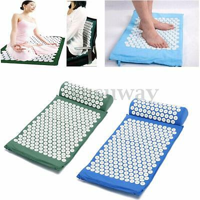 Acupressure Massage Nail Mat Bed Meditation Yoga Stress Pain Relief + Pillow Set