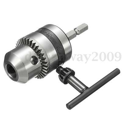 1-10mm Drill Chuck Driver Converter 3/8'' 24UNF With 1/4'' Hex Shank Key Adaptor