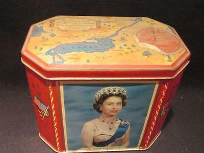 Opening St Lawrence Seaway 1959 Elizabeth II Gray Dunn Red Tin with Sticker