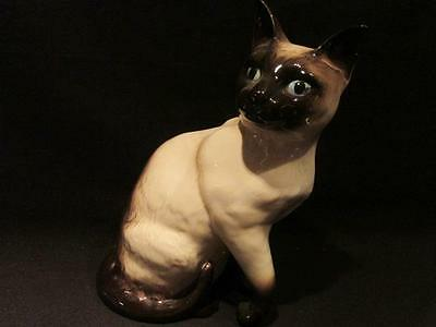 "Beswick Vintage 9"" Tall Siamese Cat Seated Figure Blue Eyes #1882"