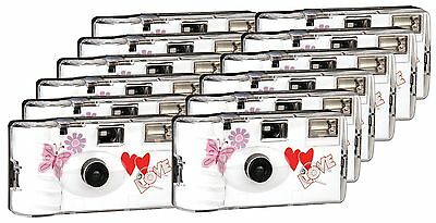 TopShot Love Hearts Disposable Camera/Wedding Camera/27Photos Flash 12Pack