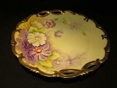 Vienna Hand Painted Antique Floral Plate with Gilt Edge & Handles Taroche?