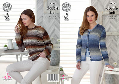 Knitting Pattern Womens Lace Detail Jumper & Cardigan King Cole Double Knit 4725