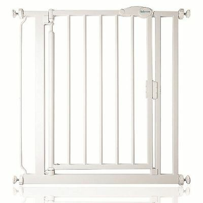 New Safetots Narrow Self Closing Baby Safety Gate in White - Width 68.5cm-75cm