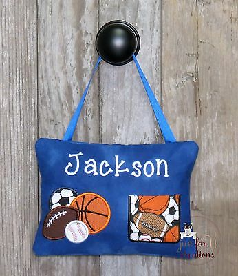 Boy's Personalized Tooth Fairy Pillow Sports Football Soccer Baseball Basketball