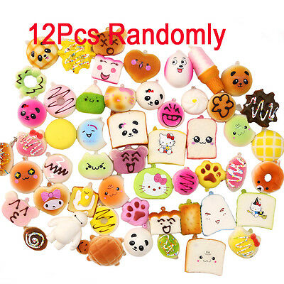 MAGIC SHOW 12Pcs Kawaii Soft Squishy Foods Panda Bun Toasts Donuts Phone Chain