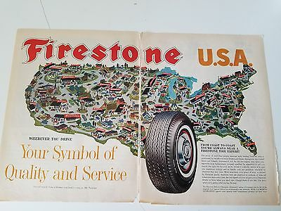 1963 Firestone Tire USA Quality and Service Map Original Ad