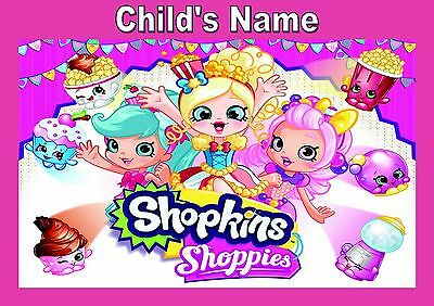 Childrens/kids A4 personalised Shopkins Shoppies dinner mat/placemat