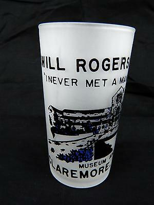 Vintage Will Rogers Memorial Claremore OK Souvenir Frosted Glass Tumbler