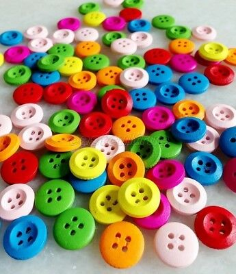100 PCS Mixed Color Round 4 Holes Wood Sewing Button Scrapbook enk202