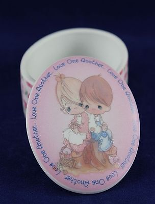 Precious Moments - Small Oval Trinket Box - Love One Another - Bisque Porcelain