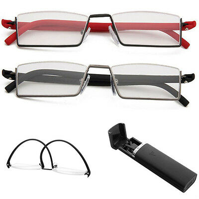 Flexible Black Tr90 Half Frame Semi Rimless Reader Reading Glasses With Case