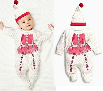 Christmas Newborn 6 12 18 24Months Baby Girls Sleepsuit Romper Bodysuit Outfits