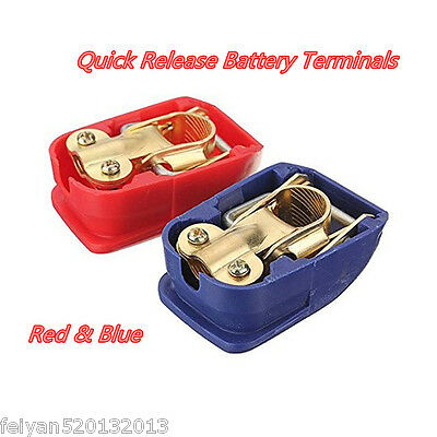 Red&Blue Quick Release Battery Clamps Terminals Leisure Marine Positive&Negative
