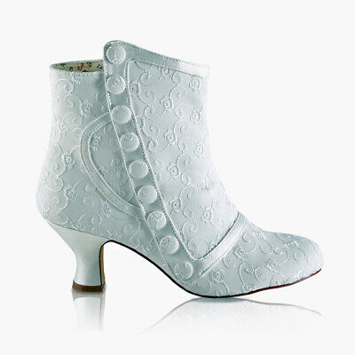 Ivory Satin Bridal Ankle Boots Embroidery Anglaise 2.5'' Heel Perfect Bridal