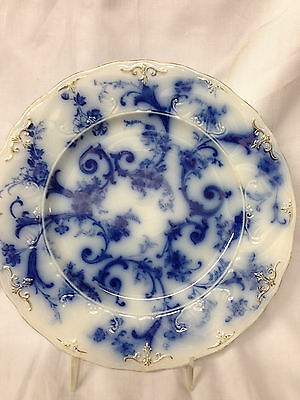 "Ridgways England Gainsborough Luncheon Plate 8 7/8"" Flow Blue Gold Accents"
