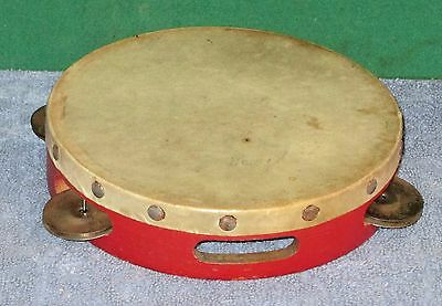 Vintage Pan American Wooden Drum Top Tambourine -  Works Great!