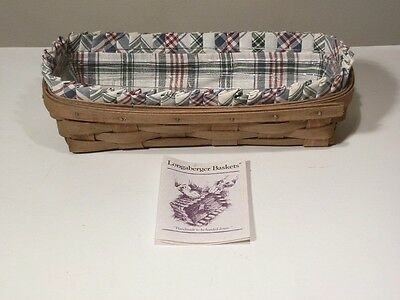 Longagerger 1985 Cracker Basket With Protector And Plaid Liner Excellent
